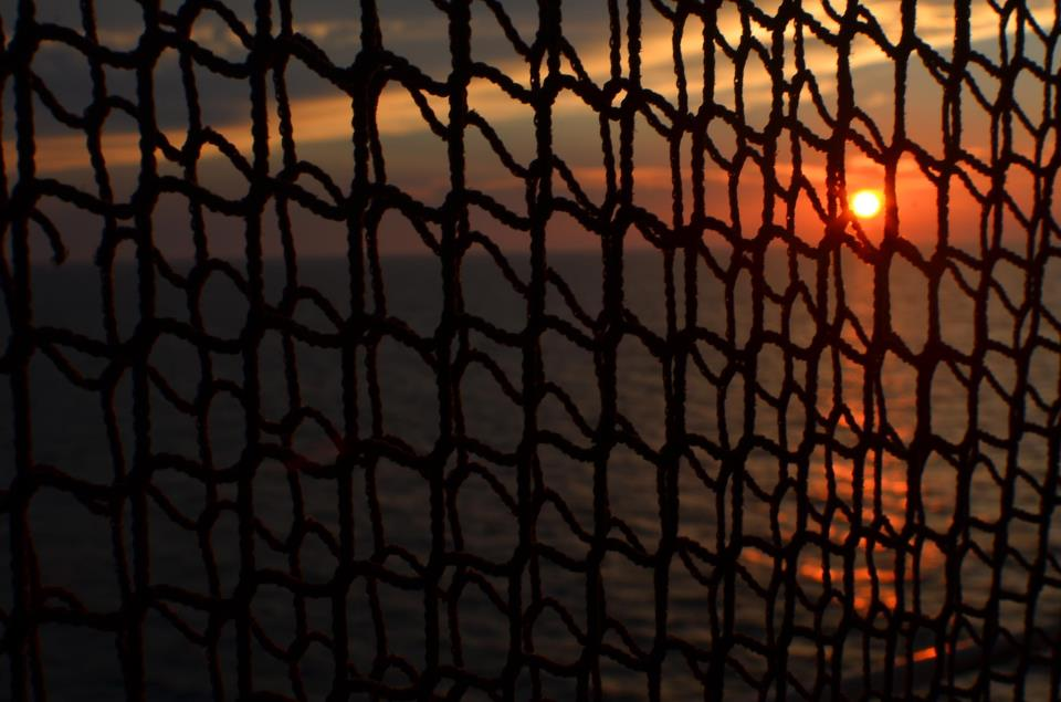 sunset through boat netting