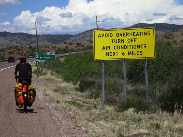 Leaving Rye, Arizona, we wished for some air conditioning