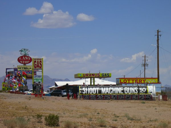 This place has a lot to offer. You can get a lotto ticket, shoot a machine gun, and get gas from Uranus.