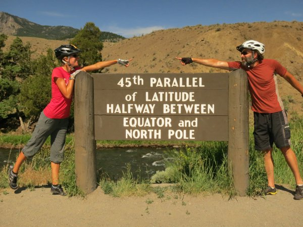 Here we are in Yellowstone National Park at the end of June 2013.  We've since biked over 9,000 to reach the Equator.