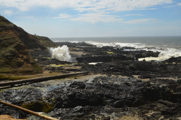 The crashing surf