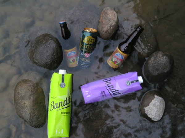 Keeping the beverages cold in the stream