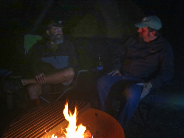 Catching up with Dave around the campfire