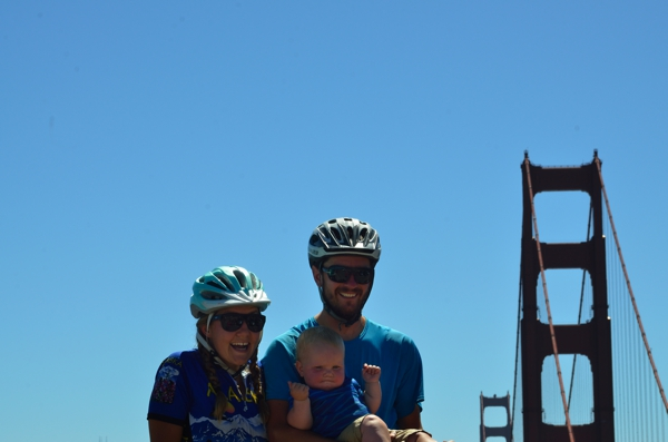 Mary, baby Leo and Brad at the Golden Gate Bridge