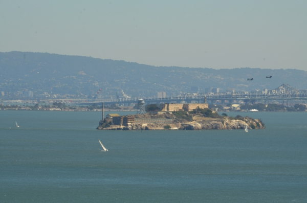 Alcatraz with black helicopters