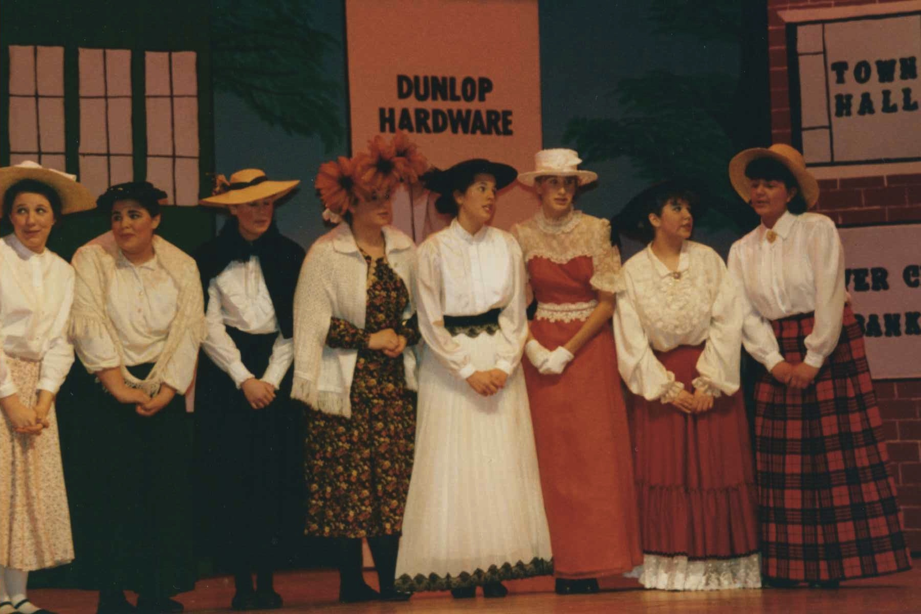 High School Theater: The Music Man. Jess & I are third and fourth from the right.