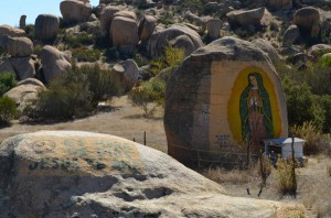 We've passed many rocks painted with the BVM.