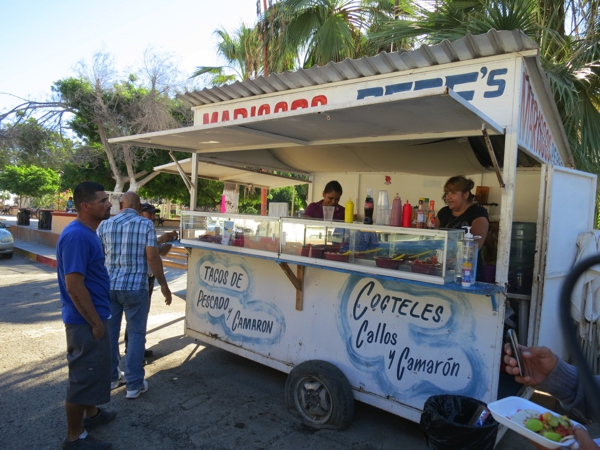 The smell of tacos drew us to this stand in the central square of Santa Rosalía