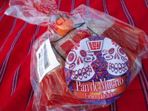 Pan de muerto is a type of sweet roll traditionally baked in Mexico during the weeks leading up to the Día de los Muertos, which is celebrated on November 1 and 2. It is a sweetened soft bread shaped like a bun, often decorated with bone-like pieces.