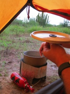 cooking breakfast from inside the tent