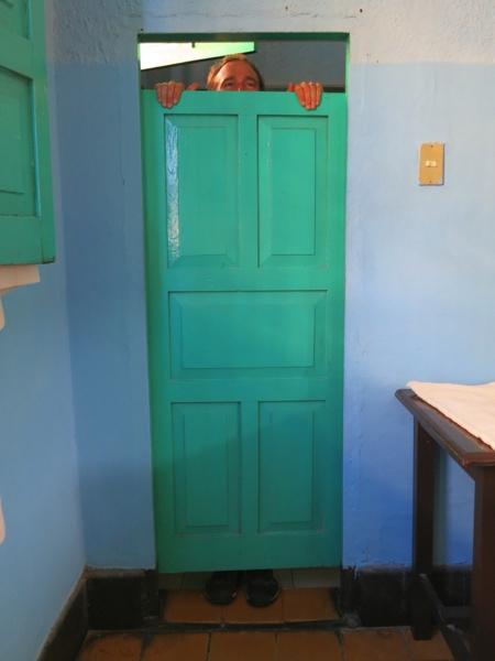 Kilroy was here. Our bathroom door