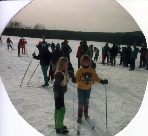 Cait & I skiing