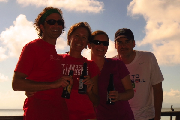 Cheers Aunt Pat, thanks for the round of beers and island drinks!  From us and Cait & Mark too!