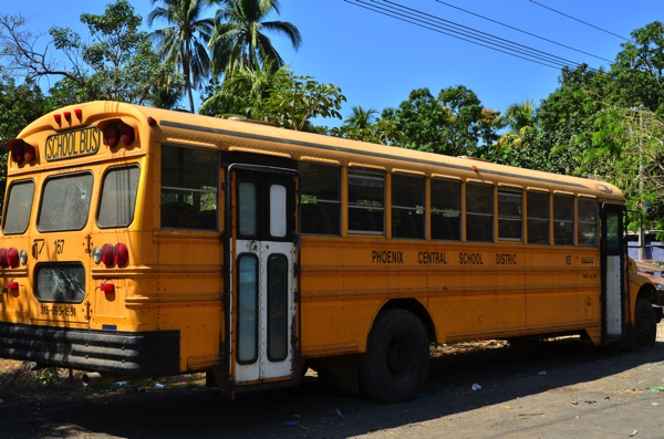 A bus from Phoenix Central School District in New York.  Notice the bullet hole in the back window.  We've seen buses from all over the USA, including Texas, California, Louisiana and Arizona