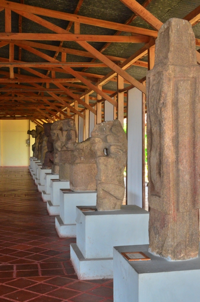 Row of basalt statues from the island of Zapatera