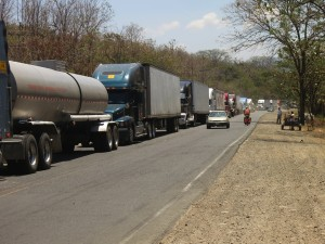 big rigs were backed up for miles on the Costa Rican side of the border