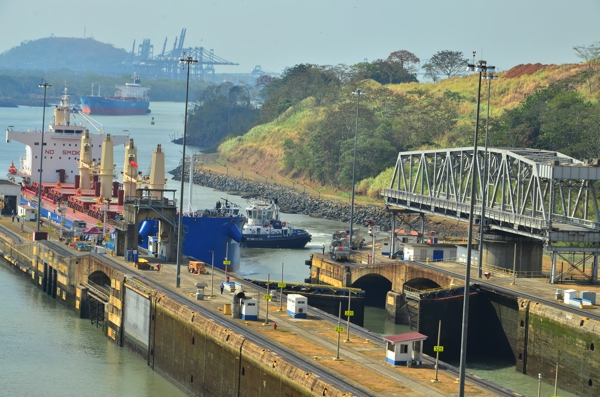 Gates opening for a ship to pass into the first step of the Miraflores Locks.