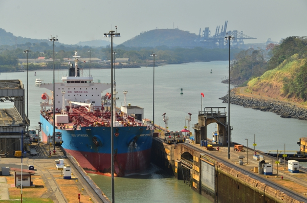 Another ship entering the Miraflores Locks.