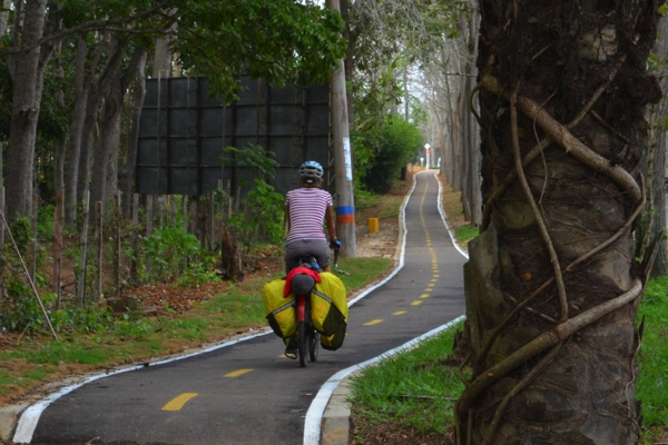 A surprise bicycle path beside the road through town