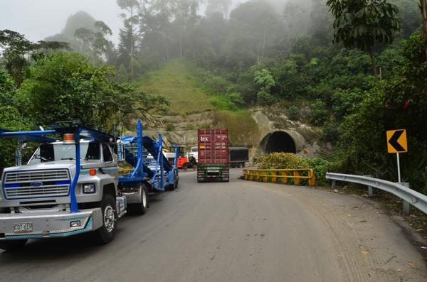 trucks passing