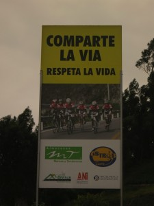 Road sign: Share the road, respect life.