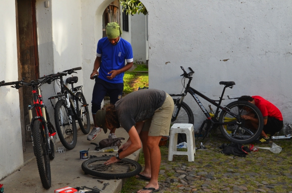 lots of bike maintenance going on