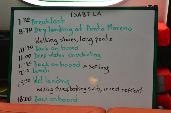 typical day: wake, eat, hike, snorkel, eat, hike, snorkel, eat, sleep