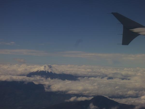 Flying over volcanos near Quito, Ecuador.