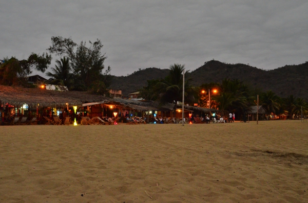 The beach huts transform into discos at night with obnoxiously loud music.