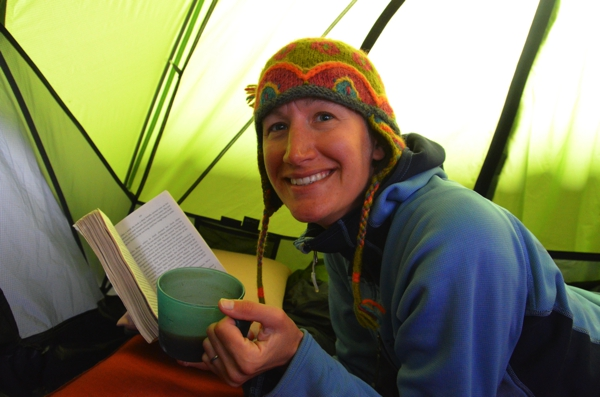 warm and dry, in the tent with hot chocolate and a book