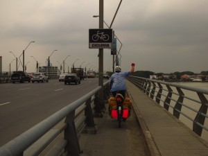 Bike lane over the bridges through Guayaquil.  Yea, Ecuador!