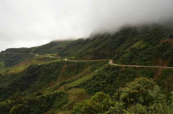 The road winding along the mountain.
