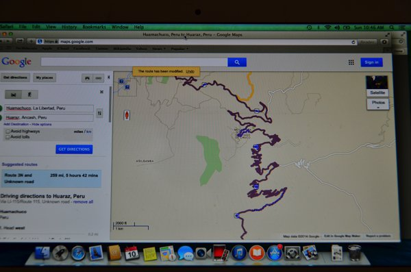 It looks like a toddler scribbled all over my screen.  Nope, that's our route through the mountains.