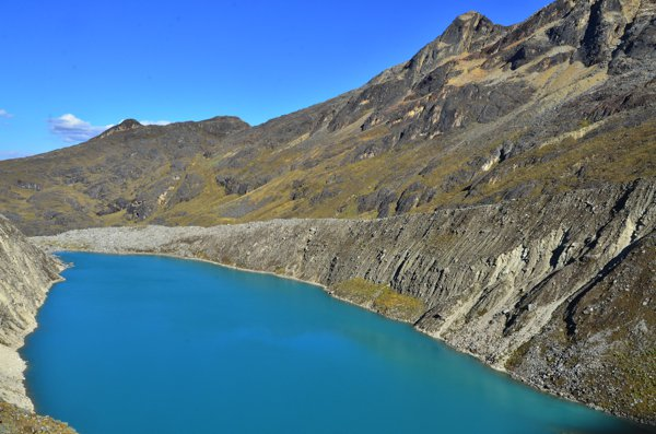 The unbelievably blue water of a mountain lagoon.