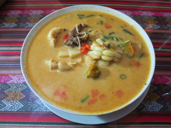 sopa Andina (creamy soup w/veggies & alpaca meat)
