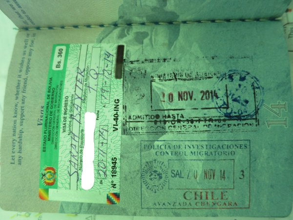 Exit stamp from Chile and our 30-day Bolivian visa (360 boliviano = $52)