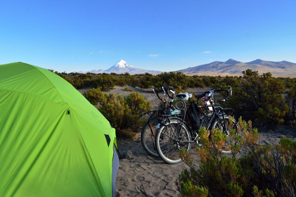 Camping with a view of Sajama, the tallest peak in Boliva, in the background