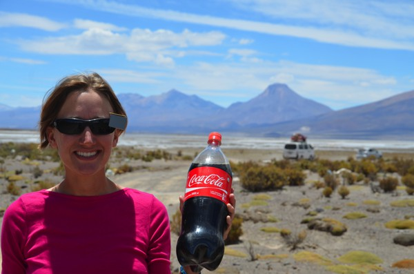 Just as we were about to enter the salar a car stopped to give us a giant bottle of Coca-Cola!