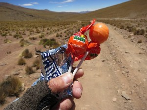 Two Bolivian guys passed in a truck and gave us some candy and chocolate!