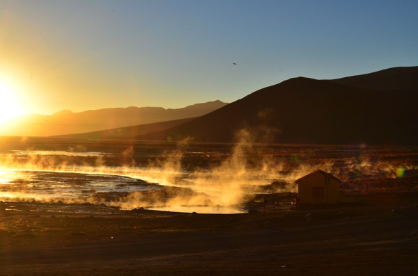 The hot springs at sunrise.