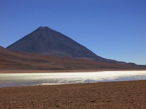 Volcan Licancabur, sitting on the border between Chile and Bolivia.