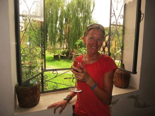Enjoying a glass of Nanni wine.
