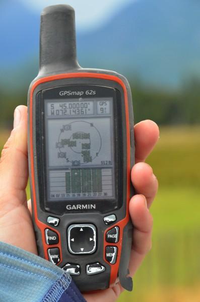 The GPS showing 45° latitude.
