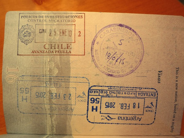 We noticed today that our Chilean entry stamp had the wrong year (2013)! Luckily the border agent didn't notice (or didn't care) because it looked like we have seriously overstayed our 90 day allowance.