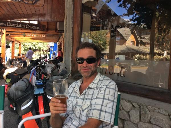 Scott gets a beer in Villa La Angostura.