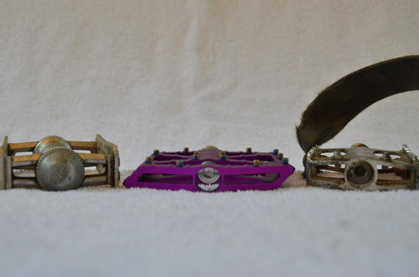 Pedals in profile. The Sylvan Touring (left) are the least flat of the pedals in this review