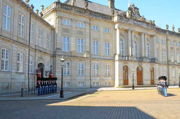 Changing of the guard at Amalienborg Palace, home of the Danish royal family.