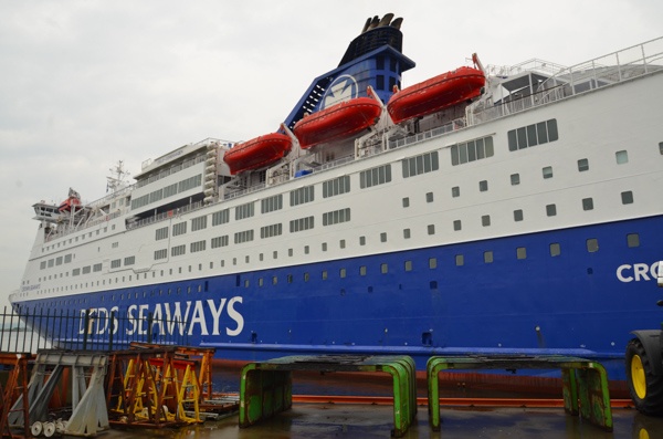 Our boat, the DF Seaways. Our room is somewhere near/below the waterline.