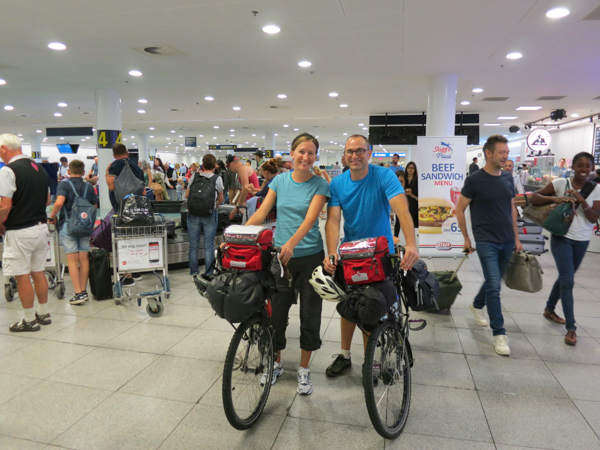 When we arrived in Copenhagen we found the bikes safe and sound, but the luggage (panniers, clothes, camping gear) was no where to be found! After a few nervous hours thinking we'd be traveling ultra-light, we were reunited with our stuff and were ready to roll.