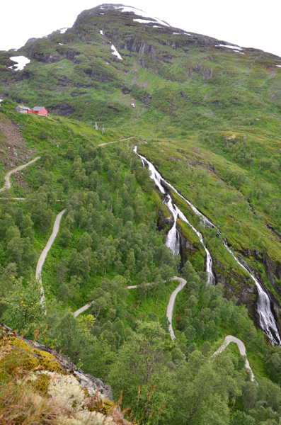 The road down to the fjord in Flåm.